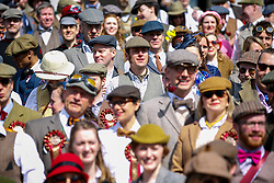 © Licensed to London News Pictures. 18/04/2015. LONDON, UK. Participants gathering in Trafalgar Square, London ahead of 'The Tweed Run' on Saturday, 18 April 2015. Ten-mile bicycle ride aimed at revisiting the fashions and pastimes of the polite aspects of 1920's to 1950's England. Photo credit : Tolga Akmen/LNP