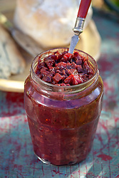 Allotment apple and vegetable pickle in a jar. Ingredients include swede, courgettes, beetroot, cauliflower, carrots and apples