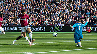 Football - 2018 / 2019 Premier League - West Ham United vs. Manchester United<br /> <br /> Felipe Anderson (West Ham United) with a cheeky back heel beats David De Gea (Manchester United) to give his team an early lead at the London Stadium<br /> <br /> COLORSPORT/DANIEL BEARHAM