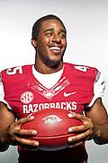 Aug 4, 2012; Fayetteville, AR, USA;  Arkansas Razorback linebacker Alonzo Highsmith (45) poses for a photo during media day at the Broyles Athletic Center.  Mandatory Credit: Beth Hall-US PRESSWIRE