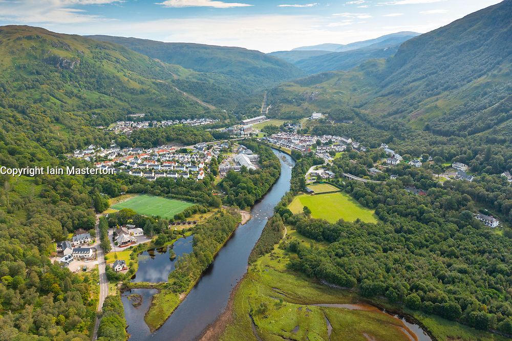 Aerial view from drone of villages of Kinlochleven , right,  and Kinlochmore, Lochaber, Highland, Scotland, UK