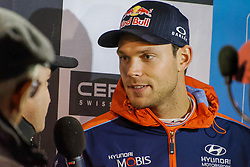 October 26, 2017 - Deeside, Wales, United Kingdom - 6 Andreas Mikkelsen of Hyundai Motorsport speaks to the media prior to the Rally GB round of the 2017 FIA World Rally Championship. (Credit Image: © Hugh Peterswald/Pacific Press via ZUMA Wire)