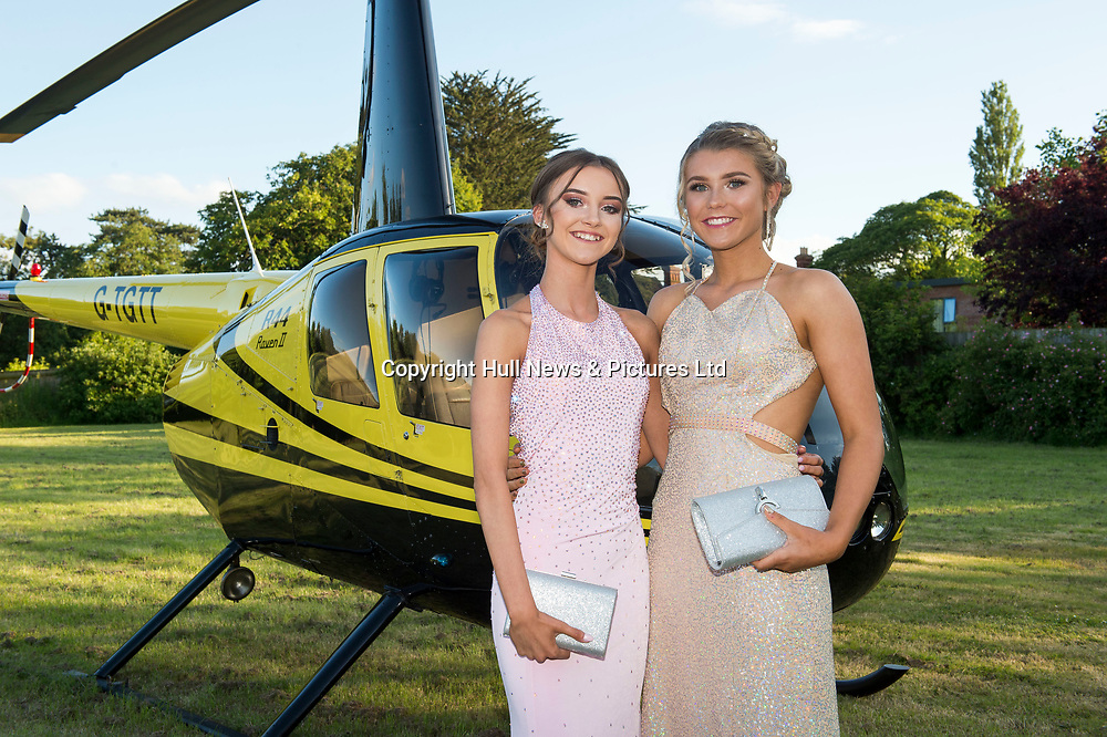 20 June 2019: Cleethorpes Academy Year 11 Prom at Brackenborough Hotel near Louth.<br /> Arriving by helicopter (l-r) Ebony  Sherriff and Beth <br /> Wharton.<br /> Picture: Sean Spencer/Hull News & Pictures Ltd<br /> 01482 210267/07976 433960<br /> www.hullnews.co.uk         sean@hullnews.co.uk