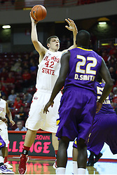 19 November 2011:  Jordan Threloff winds up to make a pass during an NCAA mens basketball game between the Lipscomb Bison and the Illinois State Redbirds in Redbird Arena, Normal IL