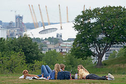 ©Licensed to London News Pictures 14/07/2020     <br /> Greenwich, UK. People relaxing in Greenwich park, London this afternoon. The sunshine will be making a comeback this weekend but the rest of the week like today will be cloudy. Photo credit: Grant Falvey/LNP