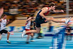 Liam van der Schaaf in action on 60 meter hurdles during the Dutch Indoor Athletics Championship on February 23, 2020 in Omnisport De Voorwaarts, Apeldoorn