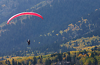 Bradly J. Boner / JACKSON HOLE DAILY.A paraglider sail in for a landing Monday afternoon at Teton Village.  Dozens of the extreme sport entheusiasts were taking advantage of a fine autumn day to glide from the top of the tram on Rendezvous Mountain.