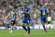 AFC Wimbledon midfielder Jake Reeves (8) gees his team mates up during the Sky Bet League 2 play off final match between AFC Wimbledon and Plymouth Argyle at Wembley Stadium, London, England on 30 May 2016.