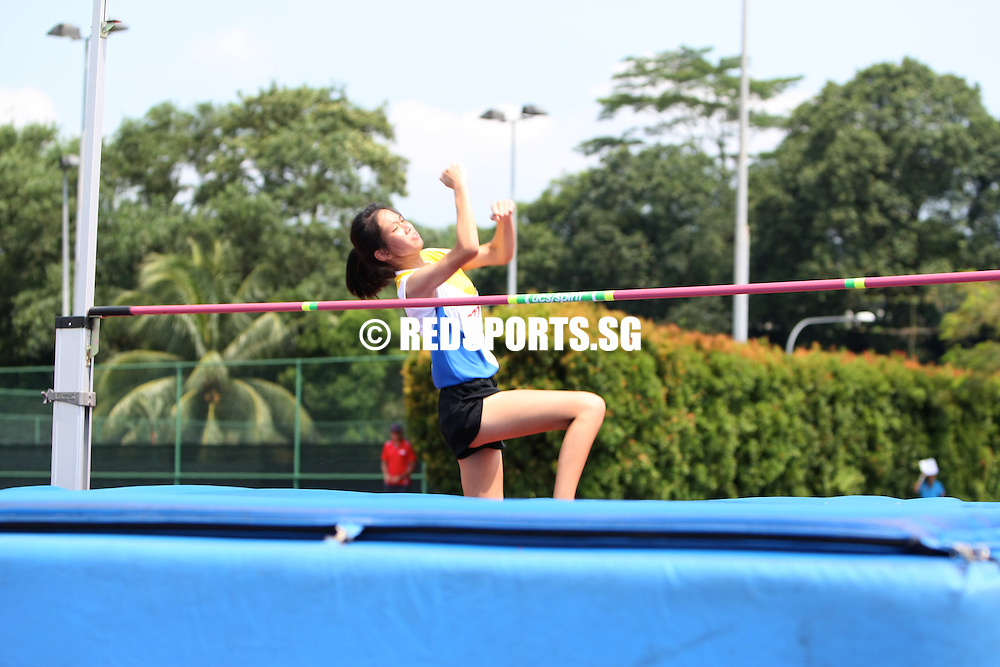 Choa Chu Kang Stadium, Friday, April 5, 2013 — Valerie Cheong of Cedar Girls' Secondary won the B Division high jump with a leap of 1.60 metres at the 54th National Schools Track and Field Championships.<br /> <br /> Story: http://www.redsports.sg/2013/04/11/b-div-high-jump-valerie-cheong-cedar-girls/