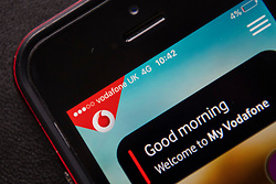 A mobile phone connected to the Vodafone network. Vodafone is currently the 2nd most valuable British brand, according to analysts Brand Finance's directory. Picture date: Friday March 10, 2017. Photo credit should read: Matt Crossick/ EMPICS Entertainment.