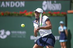 March 7, 2019 - Indian Wells, CA, U.S. - INDIAN WELLS, CA - MARCH 07: Venus Williams (USA) hits a backhand during the BNP Paribas Open on March 7, 2019 at Indian Wells Tennis Garden in Indian Wells, CA. (Photo by George Walker/Icon Sportswire) (Credit Image: © George Walker/Icon SMI via ZUMA Press)