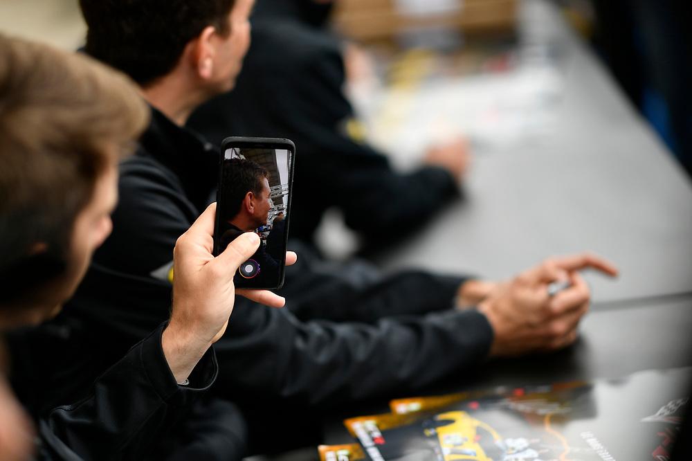 #64 Corvette Racing Chevrolet Corvette C7.R: Oliver Gavin, Tommy Milner, Marcel Fassler autograph session<br /> Tuesday 12 June 2018<br /> 24 Hours of Le Mans<br /> Verizon IndyCar Series<br /> Circuit de la Sarthe  FR<br /> World Copyright: Scott R LePage<br /> LAT Images