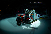 KELOWNA, CANADA - MARCH 3: Rocky Raccoon, the mascot of the Kelowna Rockets rides onto the ice on his Polaris Sportsman against the Portland Winterhawks  on March 3, 2019 at Prospera Place in Kelowna, British Columbia, Canada.  (Photo by Marissa Baecker/Shoot the Breeze)