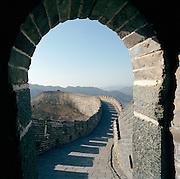 The Great Wall o China seen from the Jiayuguan Fort, Silk Route; Jiayuguan, Gansu Province, China. Jiayuguan is one of the main passes of the Great Wall.