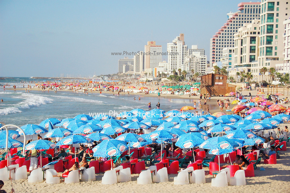 Israel, Tel Aviv, the beach front with deck chairs and parasol