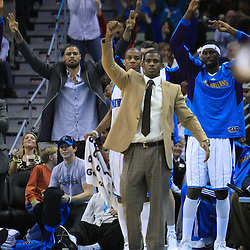 06 February 2009: New Orleans Hornets guard Chris Paul (center) cheers on his team along with teammates during a 101-92 win by the New Orleans Hornets over the Toronto Raptors at the New Orleans Arena in New Orleans, LA.