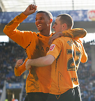 Photo: Steve Bond/Richard Lane Photography. <br />Leicester City v Hull City. Coca Cola Championship. 21/03/2008. Scorer Dean Marney (R) celebrates with Fraizer Campbell (L)
