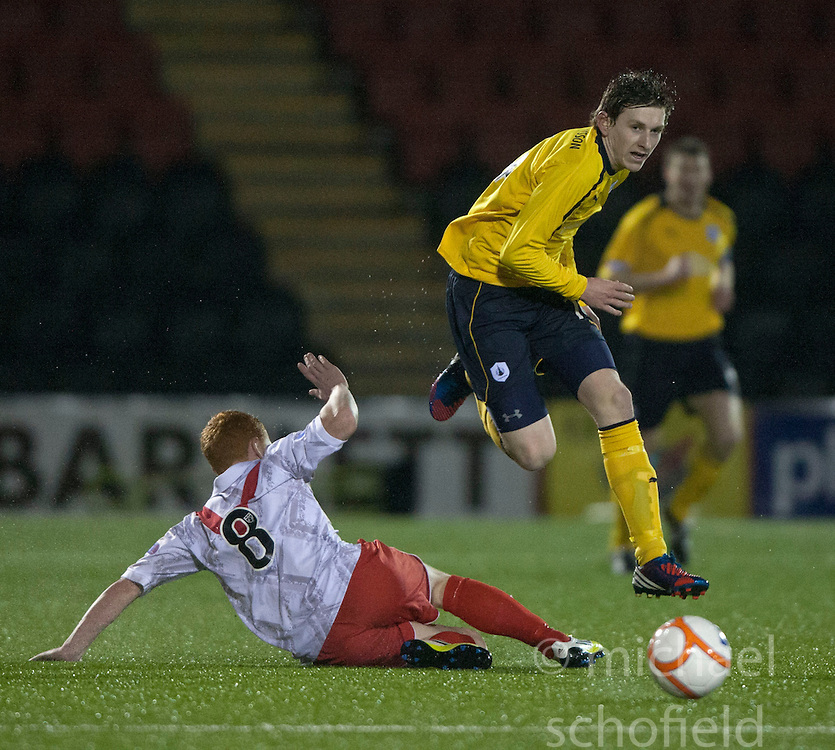 Airdrie United's Nathan Blockley and Falkirk's Blair Alston..Airdrie United 1 v 4 Falkirk, 22/12/2012..©Michael Schofield.