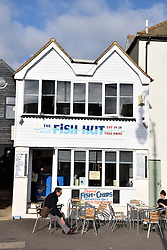 Fish & chips cafe, Hastings, East Sussex UK Oct 2016