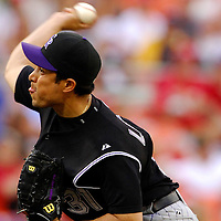 21 July 2007:  Colorado Rockies pitcher Rodrigo Lopez (31) pitches in the 7th inning against the Washington Nationals.  Lopez gave up three earned runs as the Nationals defeated the Rockies 3-0 at RFK Stadium in Washington, D.C.  ****For Editorial Use Only****