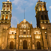 Exterior of Puebla Cathedral at night.