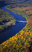 Aerial, Delaware River, Pennsylvania, Dingman's Crossing, Autumn color, Delaware Gap National Recreation Area (NJ right, PA left)