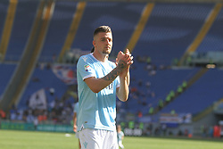 April 22, 2018 - Rome, Lazio, Italy - Sergej Milinkovic Savic thanking Lazio supporters at the end of the game versus Sampdoria.With two goal per time SS Lazio beat Sampdoria 4-0 (32'  Sergej Milinkovic, 43'  Stefan De Vrij, 85' Ciro Immobile, 88 Ciro Immobile) and make a step ahead for the fight for third place in Italian Serie A (Credit Image: © Paolo Pizzi/Pacific Press via ZUMA Wire)