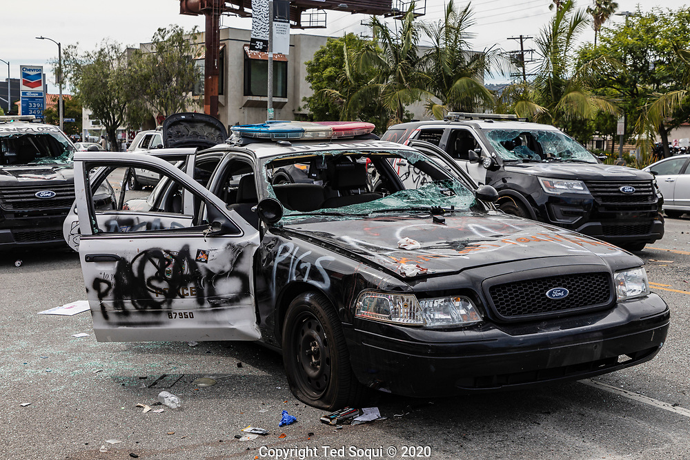 Protesting and rioting in the Fairfax district of Los Angeles.<br /> They are demonstrating over the death of George Floyd who was killed by police officers in Minneapolis, Minnesota.<br /> 5/30/2020 Los Angeles, CA USA<br /> (Photo by Ted Soqui)