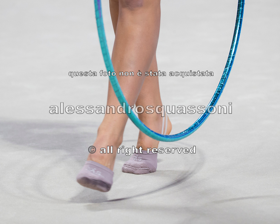 Candela Urso from Argentina performs at hoop during the Pesaro 2021 World Cup.