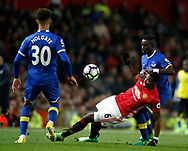 Paul Pogba of Manchester United in action with Idrissa Gueye of Everton during the English Premier League match at Old Trafford Stadium, Manchester. Picture date: April 4th 2017. Pic credit should read: Simon Bellis/Sportimage
