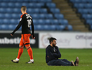 Protestor sits down during the English League One match at the Rioch Arena Stadium, Coventry. Picture date: December 15th, 2016. Pic Simon Bellis/Sportimage