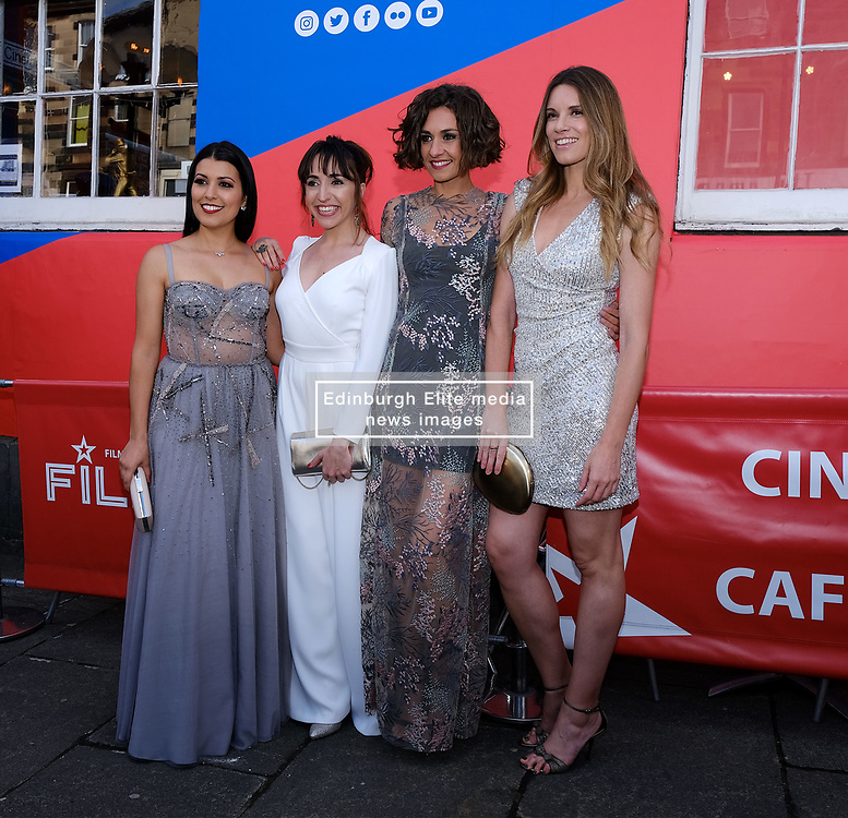 Edinburgh International Film Festival 2019<br /> <br /> H0us3 (International Premiere)<br /> <br /> Stars arrive on the red carpet for the international premiere<br /> <br /> Pictured: Cristina Raya, Anna Bertran, Miriam Tortosa and Mariona Tena<br /> <br /> Aimee Todd | Edinburgh Elite media