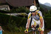France, Talloire, 23 July 2009: George Hincapie (USA) Team Columbia - High Road on the Côte de Bluffy climb during Stage 18 - a 40.5 km Annecy to Annecy individual time trial. Photo by Peter Horrell / http://peterhorrell.com .