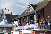 Mortlake/Chiswick, GREATER LONDON. United Kingdom. Women's Boat Race, Supporters and spectators on the Quintin BC Balcony  at ChiswickRiver Thames. <br /> <br /> Sunday  02/04/2017<br /> <br /> [Mandatory Credit; Peter SPURRIER/Intersport Images]