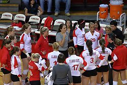 09 October 2009: A Redbird time out. The Redbirds of Illinois State defeated the Braves of Bradley in 3 sets during play in the Redbird Classic on Doug Collins Court inside Redbird Arena in Normal Illinois