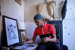 South Africa Cape Town 15 July 2020 Olwethu Patuleni from Lusaka in Nyanga is a young designer who recently designed Somizi Mhlongo's jacket and potrait of Somizi's mom. Somizi Mhlongo took to Instagram this week to thank 22-year-old Olwethu Patuleni for a kwaai designer denim jacket which features the faces of his mom and dad. Photographer Ayanda Ndamane African News Agency(ANA)
