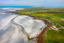 Aerial view from drone of coast and Bhalaigh beach at Malacleit on North Uist in the Outer Hebrides, Scotland, UK