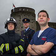 14.11.2016          <br /> Major winter safety and wellbeing campaign launched by Limericks Public Services.<br /> <br /> Pictured at the launch were, Dr. Gareth Quin, Emergency Consultant, UHL, Inspector Paul Reidy, Limerick Traffic Corps and Snr. Ass. Chief Fire Officer, Scott Keenan. <br /> <br /> Limerick City and County Council, the HSE and An Garda Siochana working together. Picture: Alan Place