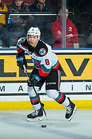 KELOWNA, BC - JANUARY 4: Trevor Wong #8 of the Kelowna Rockets skates with the puck against the Vancouver Giants  at Prospera Place on January 4, 2020 in Kelowna, Canada. (Photo by Marissa Baecker/Shoot the Breeze)