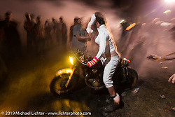 Burnouts late into Saturday night (Sunday morning) at the Smokeout.  Rockingham, NC. USA. June 21, 2015.  Photography ©2015 Michael Lichter.