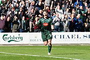 Matthew Kennedy (16) of Plymouth Argyle celebrates scoring a goal to give a 5-0 lead to the home team during the EFL Sky Bet League 2 match between Plymouth Argyle and Newport County at Home Park, Plymouth, England on 17 April 2017. Photo by Graham Hunt.