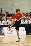 Loughborough, England - Saturday 31 July 2010: A competitor from the American team in action during the World Rope Skipping Championships held at Loughborough University, England. The championships run over 7 days and comprise junior categories for 12-14 year olds in the World Youth Tournament, 15-17 year olds male and female championships, and any age open championships. In the team competitions, 6 events are judged, the Single Rope Speed, Double Dutch Speed Relay, Single Rope Pair Freestyle, Single Rope Team Freestyle, Double Dutch Single Freestyle and Double Dutch Pair Freestyle. For more information check www.rs2010.org. Picture by Andrew Tobin/Picture It Now.