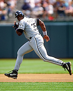 MILWAUKEE - 1992:  Frank Thomas of the Chicago White Sox runs the bases during an MLB game at the Oakland Coliseum in Oakland, California.  Thomas played for the White Sox from 1990-2005. (Photo by Ron Vesely)