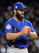 CLEVELAND, OH - OCTOBER 26: Jake Arrieta #49 of the Chicago Cubs looks on during Game 2 of the 2016 World Series against the Cleveland Indians at Progressive Field on Wednesday, October 26, 2016 in Cleveland, Ohio. (Photo by Ron Vesely/MLB Photos via Getty Images)