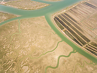 Aerial view of wetland in Andalusia, Spain.