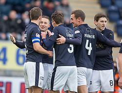 Falkirk's John Baird cele scoring their first goal. <br /> Falkirk 5 v 0 Alloa Athletic, Scottish Championship game played at The Falkirk Stadium.
