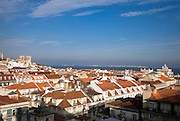 A view of Lisbon where the river Tagus estuary can be seen and the old Cathedral (S?©) and Augusta Street Arch aswell. Tagus is the longest river in the Iberian Peninsula and its estuary the biggest in Europe.