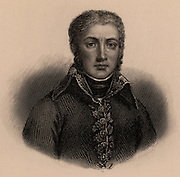 Jean Victor Moreau (1761-1813) French soldier and revolutionary. Assisted Napoleon in the coup of 18 Brumaire (9 November 1799). In 1804 banished by Napoleon who accused him of plotting against him. In 1813 joined Russian service and fought at Dresden where a French cannon ball shattered his legs. He died after amputation. Lithograph 1835