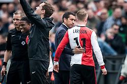(L-R) coach Giovanni van Bronckhorst, Sam Larsson of Feyenoord during the Dutch Eredivisie match between Feyenoord Rotterdam and FC Utrecht at the Kuip on April 15, 2018 in Rotterdam, The Netherlands