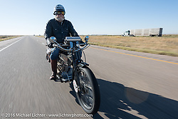 Vern Acres of Ontario, Canada riding his 4-cylinder 1914 Henderson class-2 motorcycle during the  during the Motorcycle Cannonball Race of the Century. Stage-9 Dodge City, KS to Pueblo, CO. USA. Monday September 19, 2016. Photography ©2016 Michael Lichter.